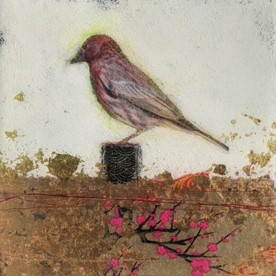 """SOLD """"Strawberry,"""" by Nikol Haskova 6 x 6 – mixed media, high-gloss finish $400 (unframed panel with thick edges)"""