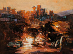 """SOLD """"Moment of Glory,"""" William Liao 36 x 48 - acrylic $5725 (thick canvas wrap)"""
