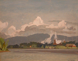 """SOLD """"Grenville, Quebec - 1968"""" by A.J. Casson 12 x 15 - oil"""