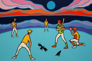 """SOLD """"Ball Game,"""" by Ted Harrison 16 ½ x 24 ½ Edition of 200 $480 Unframed"""