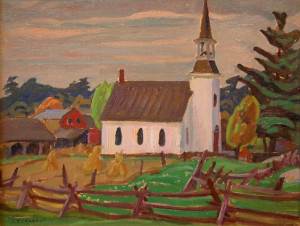 """SOLD """"Church at Morton"""" by A.Y. Jackson 10 1/2 x 13 1/2 - oil"""
