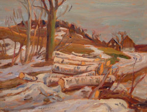 """SOLD """"The Woodpile"""" by A.Y. Jackson 10 1/2 x 13 1/2 - oil"""