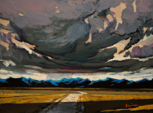 "SOLD ""Advancing Storm,"" by Min Ma 6 x 8 – acrylic $590 Unframed $740 Custom framed"