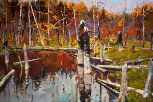 "SOLD ""Autumn Pond,"" by Min Ma 24 x 36 – acrylic $4410 Unframed"