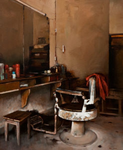 "SOLD ""Barbershop,"" by Min Ma 24 x 30 – acrylic $4060 Unframed"