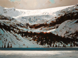 "SOLD ""Bow Lake – Banff,"" by Min Ma 30 x 40 – acrylic $5250 Unframed"