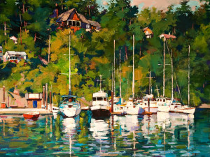 "SOLD ""Coastal Boats,"" by Min Ma 30 x 40 – acrylic $5250 Unframed"