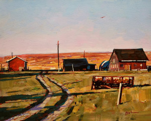 "SOLD ""Farm Barn,"" by Min Ma 8 x 10  – acrylic $770 Unframed $950 Custom framed"