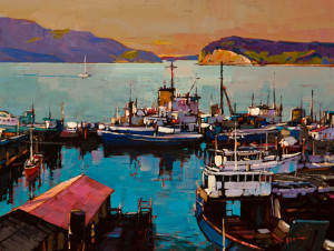 "SOLD ""Looking North from Anacortes, Washington,"" by Min Ma 12 x 16 – acrylic $1575 Unframed"