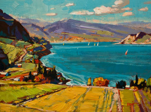 "SOLD ""Okanagan Hillside,"" by Min Ma 6 x 8 – acrylic $590 Unframed $740 Custom framed"