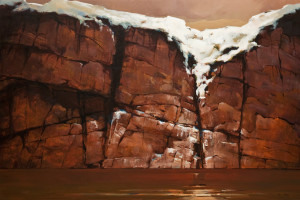 """""""Snow and Cliff,"""" by Min Ma 24 x 36 - acrylic $4630 Unframed"""