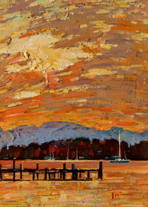 "SOLD ""Sunset Sky,"" by Min Ma 5 x 7 – acrylic $520 Unframed $660 Custom framed"
