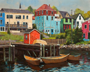 "SOLD ""View of Lunenburg,"" by Min Ma 24 x 30 – acrylic $4460 Unframed"