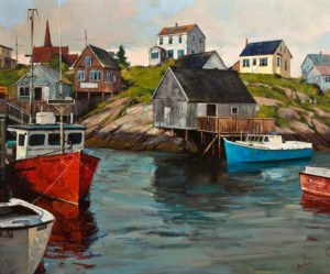 "SOLD ""Village at Peggy's Cove,"" by Min Ma 30 x 36 – acrylic $5100 Unframed"