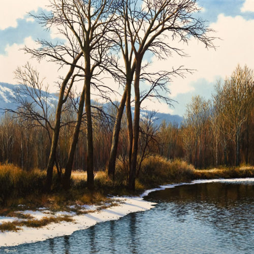 """""""First Day of Spring,"""" by Merv Brandel 30 x 30 - oil $5075 (artwork continues onto edges of wide canvas wrap)"""