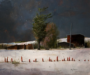 "SOLD ""Last of the Snowfence,"" by Mark Fletcher 20 x 24 - acrylic $1925 Unframed"