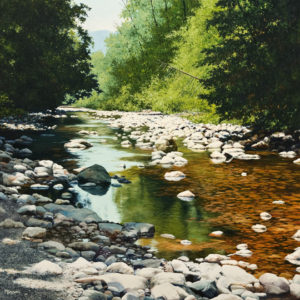 """SOLD """"Receding Reflections,"""" by Merv Brandel 30 x 30 - oil $5075 (artwork continues onto edges of wide canvas wrap)"""