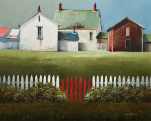 "SOLD ""Red Gate, Bonavista,"" by Mark Fletcher 16 x 20 - acrylic $1595 Unframed"