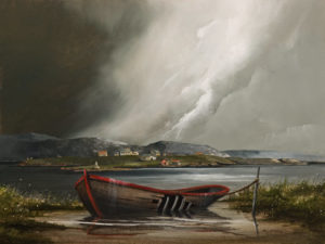 "SOLD ""Squall Over the Bay,"" by Mark Fletcher 18 x 24 - acrylic $1900 Unframed"