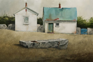 "SOLD ""Tethering Stone at the Farmstead,"" by Mark Fletcher 20 x 30 - acrylic $2090 Unframed"