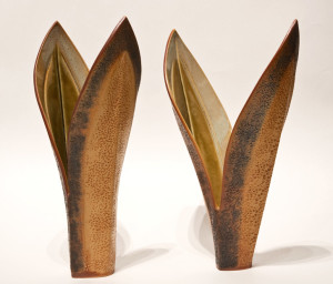 "SOLD Double-leaf vases (LR-148, LR-149) by Laurie Rolland hand-built ceramic - each 14"" (H) $180 each"