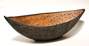 "SOLD ""Black Bone Boat"" (LR-162) by Laurie Rolland hand-built ceramic - 21"" (L) x 7"" (H) $400"