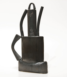 "SOLD Black Stack Teapot (LR-185) by Laurie Rolland hand-built ceramic - 13"" (H) x 7"" (L) x 2"" (W) $275"