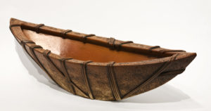 "WRAPT Boat (LR-216) by Laurie Rolland hand-built ceramic - 6"" (H) x 21"" (L) x 9"" (W) (with interior detail photo) $750"