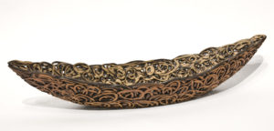 """SOLD Nest Boat (LR-224) by Laurie Rolland hand-built ceramic - 3"""" (H) x 16"""" (L) x 5"""" (W) $500"""