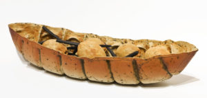 """SOLD Bone Boat (LR-232) by Laurie Rolland hand-built ceramic - 4 1/2"""" (H) x 21"""" (L) x 7 1/2"""" (W) $750"""