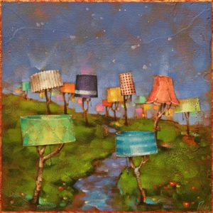 """""""Afterglow,"""" by Angie Rees 12 x 12 - acrylic $825 (unframed panel with 1 1/2"""" edges)"""