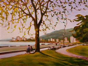 "SOLD ""Ambleside – West Vancouver, B.C.,"" by Niels Petersen 12 x 16 – oil (1998) $750 Unframed"