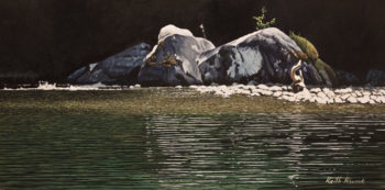 """""""Boulders on the Cowichan,"""" by Keith Hiscock 8 x 16 - oil $925 Unframed $1320 Custom framed"""