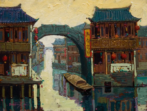 """""""Canal Reflections,"""" by Dongmin Lai 6 x 8 - oil $650 Framed"""