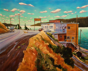 "SOLD ""Cariboo Road House – Lac La Hache, B.C.,"" by Niels Petersen 16 x 20 – oil (1998) $1100 Unframed"
