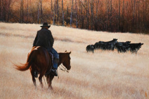 "SOLD ""Collecting the Strays,"" by Alan Wylie 24 x 36 - oil $8940 Unframed"