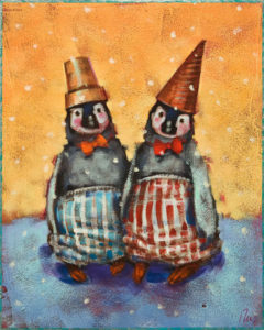 """SOLD """"Cone Heads"""" by Angie Rees 8 x 10 - acrylic $575 (unframed panel with 1 1/2"""" edging)"""