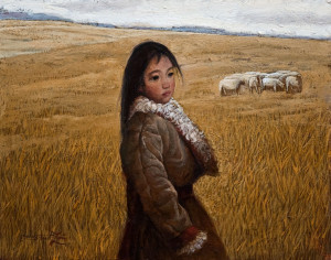 """""""Daydreaming,"""" by Dongmin Lai 11 x 14 - oil $1480 Framed"""