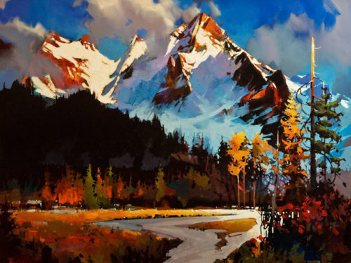 """ON HOLD """"Edge of the Vermillion Lakes and the Sundance Range,"""" by Michael O'Toole 36 x 48 - acrylic"""