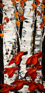 "SOLD ""Growing Tall I"" (PE-171094)  by Maya Eventov 12 x 24 – acrylic $940 Unframed"