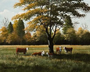 """SOLD """"Herefords,"""" by Bill Saunders 8 x 10 - acrylic $650 Unframed"""