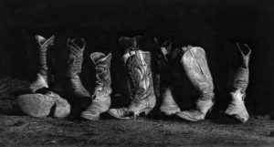 """SOLD """"How the West Was Worn,"""" by Jim Nedelak 7 x 13 1/2 - charcoal drawing $2750 Framed"""