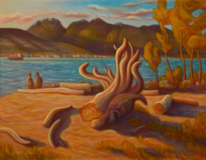 "SOLD ""Jericho Beach, Vancouver,"" by Niels Petersen 14 x 18 – oil $880 (thick canvas wrap without frame)"
