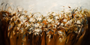 "SOLD ""Leaning into the Wind,"" by Carole Arnston 30 x 60 - oil $4400 Unframed"