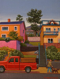 "SOLD ""Marine Drive Houses - White Rock,"" by Michael Stockdale 8 x 10 - acrylic $425 Unframed"