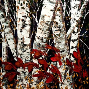 "SOLD ""Mingled with Maple""  by Maya Eventov 30 x 30 – acrylic $2535 Unframed"