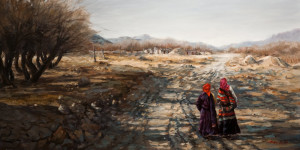 """SOLD """"Outskirts,"""" by Donna Zhang 18 x 36 - oil $4700 Unframed"""