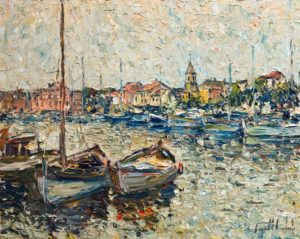 "SOLD ""Port de Sanary sur Mer,"" by Raynald Leclerc 24 x 30 - oil $3000 Unframed"