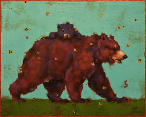 """SOLD """"Riding Bearback,"""" by Angie Rees 8 x 10 - acrylic $575 (panel with 1 1/2"""" edging)"""