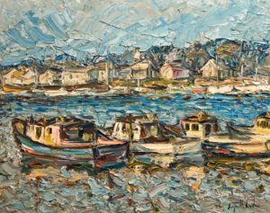 "SOLD ""Rockport, Massachusetts,"" by Raynald Leclerc 24 x 30 - oil $3000 Unframed"